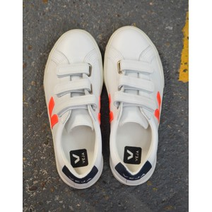 Veja 3 Lock Logo Leather Trainer Extra White/Orange/Nautico