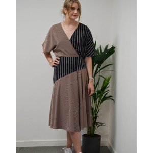 Panelled Stripe Wrap Dress Dark Navy/Burgundy