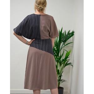 Paul Smith Womens Panelled Stripe Wrap Dress Dark Navy/Burgundy