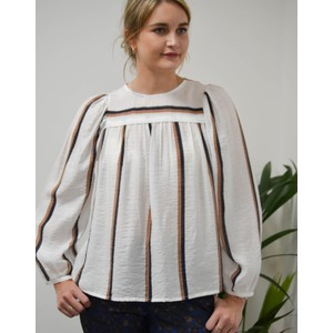 Dusty L/S Stripe Blouse Ivory/Multi