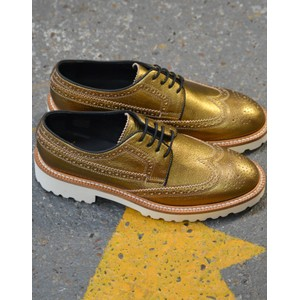 Vegas Metallic Brogue Shoe Gold