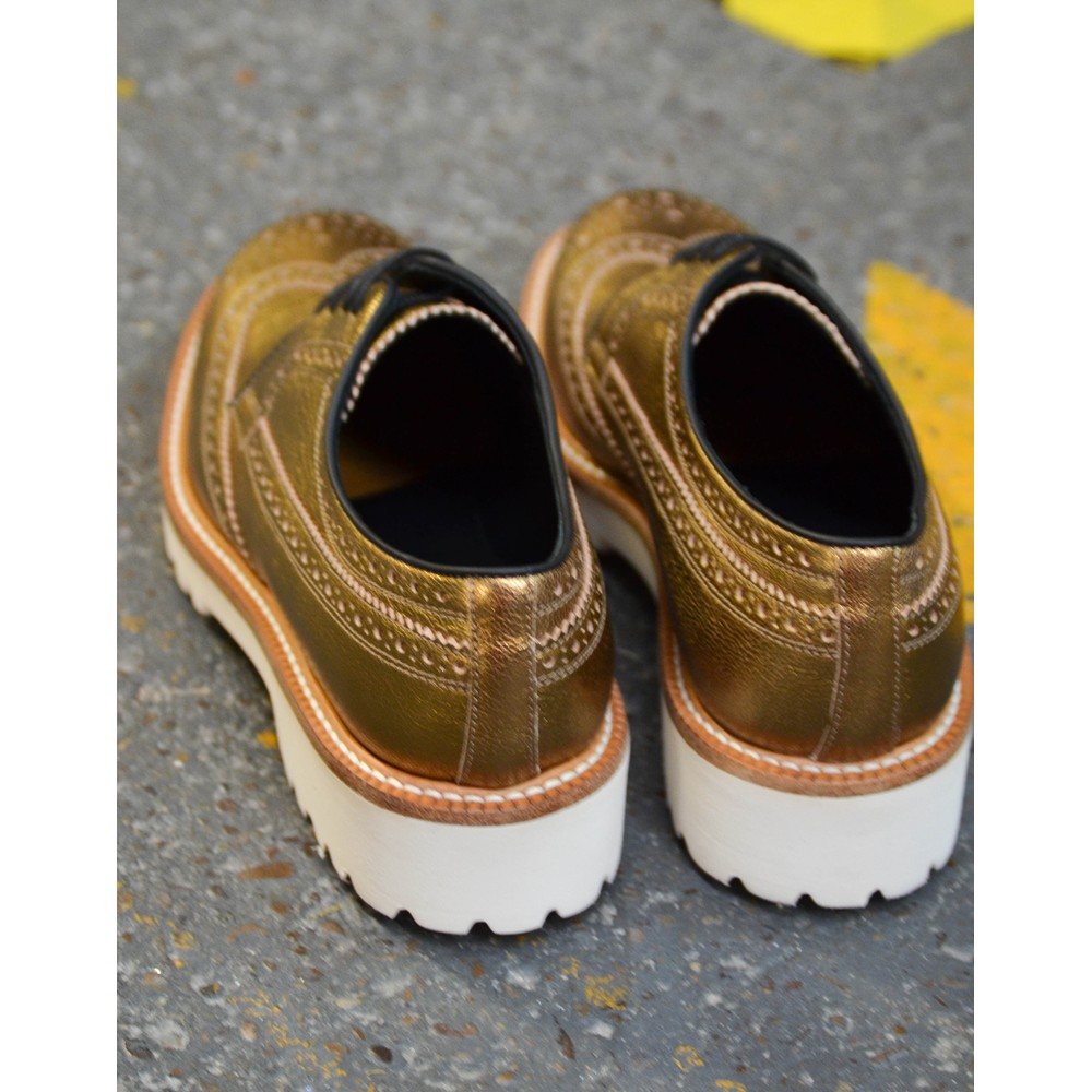 Paul Smith Shoes Vegas Metallic Brogue Shoe Gold