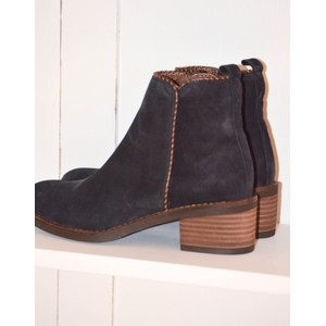 Side Overstitch Suede Ankle Boot Marine