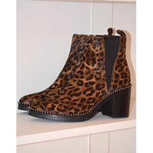 Leopard Print Stud Ankle Boot Leopard
