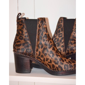 Alpe Leopard Print Stud Ankle Boot Leopard
