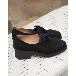 Fringed Chunky Heel Shoe Black