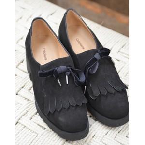 Calpierre Fringed Chunky Heel Shoe Black