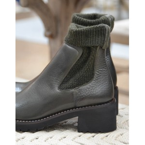 Calpierre Knitted Chunky Ankle Boot Military Green