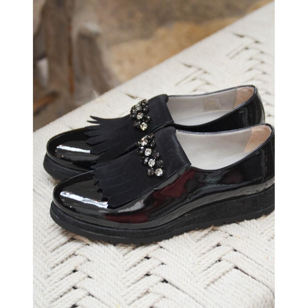 Calpierre Gem Fringed Patent Shoe Black