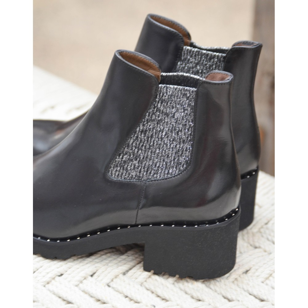 Calpierre Lurex Chelsea Boot Black