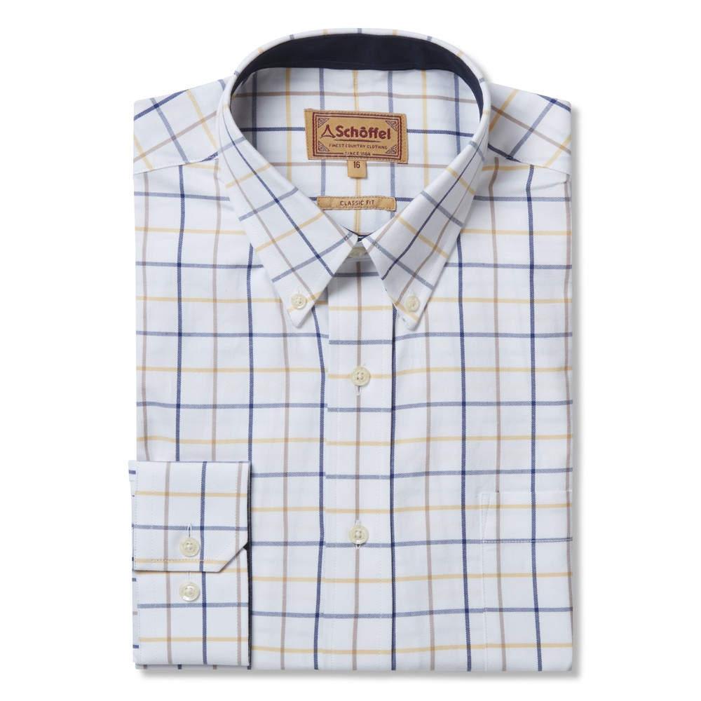 Schoffel Country Brancaster Shirt Navy/Brown/Yellow Wide