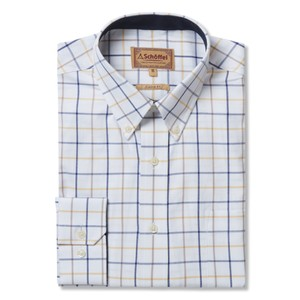 Brancaster Shirt Navy/Brown/Yellow Wide
