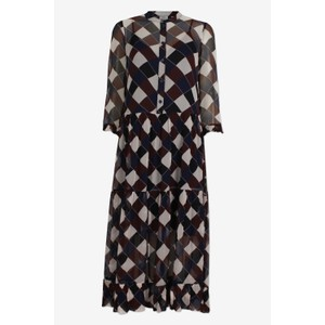 Alexondra Sheer Dress W/Slip Navy/Brown Check