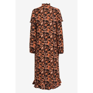Baum Und Pferdgarten Ani Long Sleeve Tie Neck Dress Peach/Black Floral