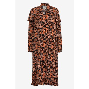 Ani Long Sleeve Tie Neck Dress Peach/Black Floral