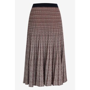 Cyrilla Pleat Lurex/Knit Skirt Cream/Red