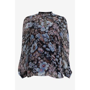 Mertrice Sheer Blouse  Blue/Navy Floral