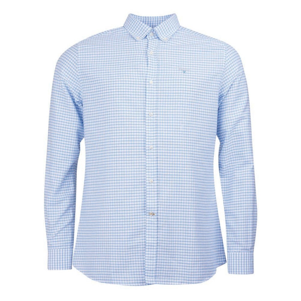 Barbour Tattersall 12 Check Tailored Fit Shirt Sky