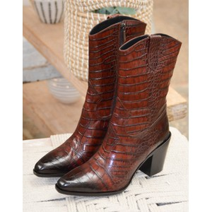 Viola Cocco Croc Cuban Boot Black/Brown