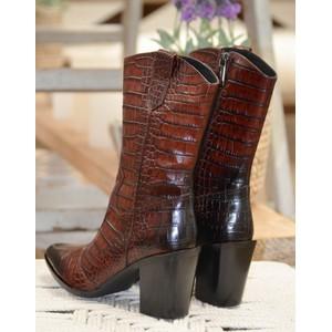 Pons Quintana Viola Cocco Croc Cuban Boot Black/Brown