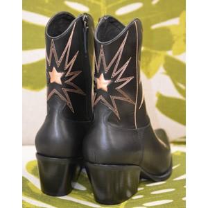 Lola Cruz Estrella Cowboy Boot Black/Rose Gold