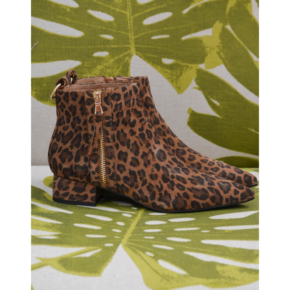 Shoe The Bear Linn Leopard Zip Boot Brown/Black