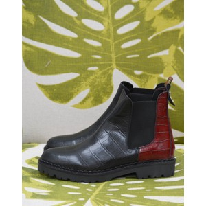 Hailey Chelsea Croc Boot Black/Burgundy