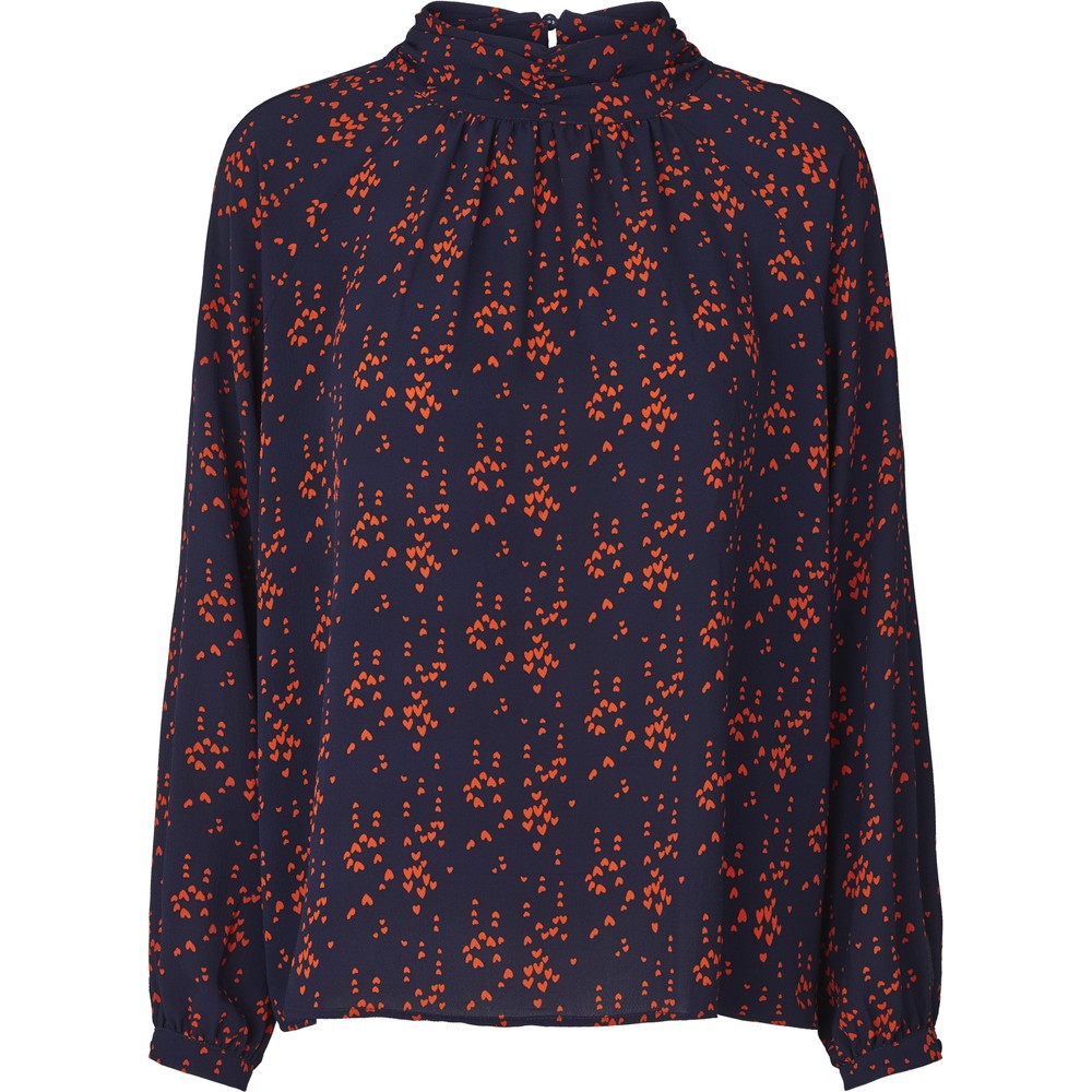 Lollys Laundry Honda Hearts Blouse Dark Navy/Red