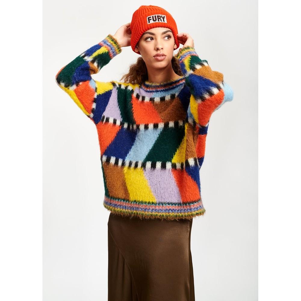 Essentiel Antwerp Tahini Zig Zag Sweater Multicolour