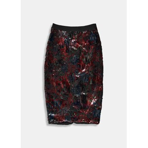 Essentiel Antwerp Temptation Sequin Skirt Black/Burgundy