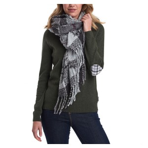 Barbour Boucle Scarf in Grey/Juniper