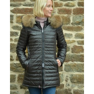 Oakwood Popping Quilted Jacket with Hood Chocolate