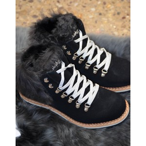 Suede Shearling Lined Boot Black