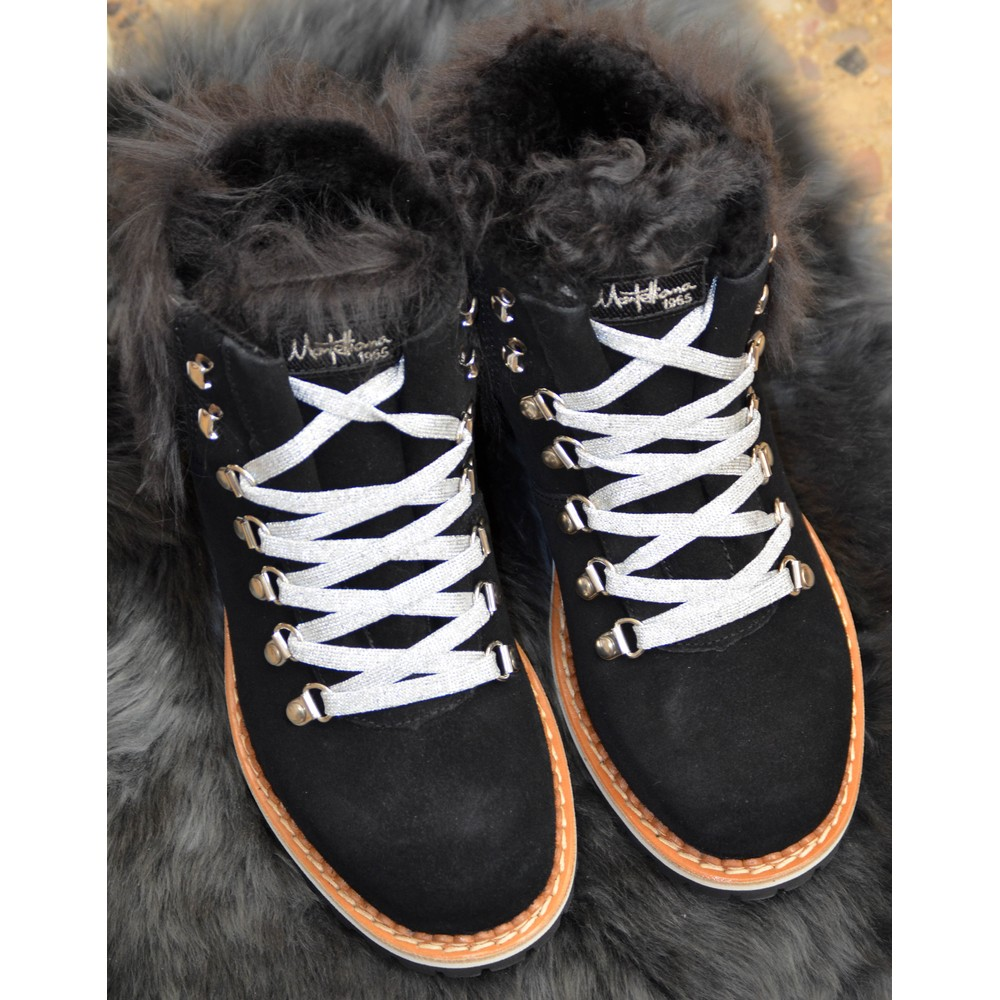 Montelliana Suede Shearling Lined Boot Black