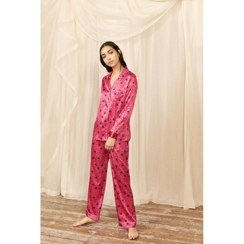 Yolke Cerise Classic Silk Pyjama Set Cerise