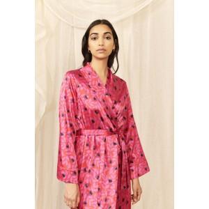 Cerise Floral Silk Dressing Gown Cerise