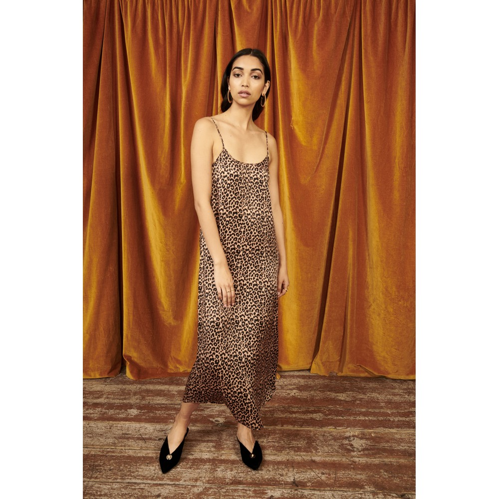 Yolke Juno Leopard Print Silk Slip Dress Leopard/Camel