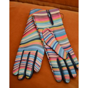 Swirl Leather Gloves Multicolour
