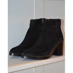 Stud Trim Heeled Ankle Boot Black