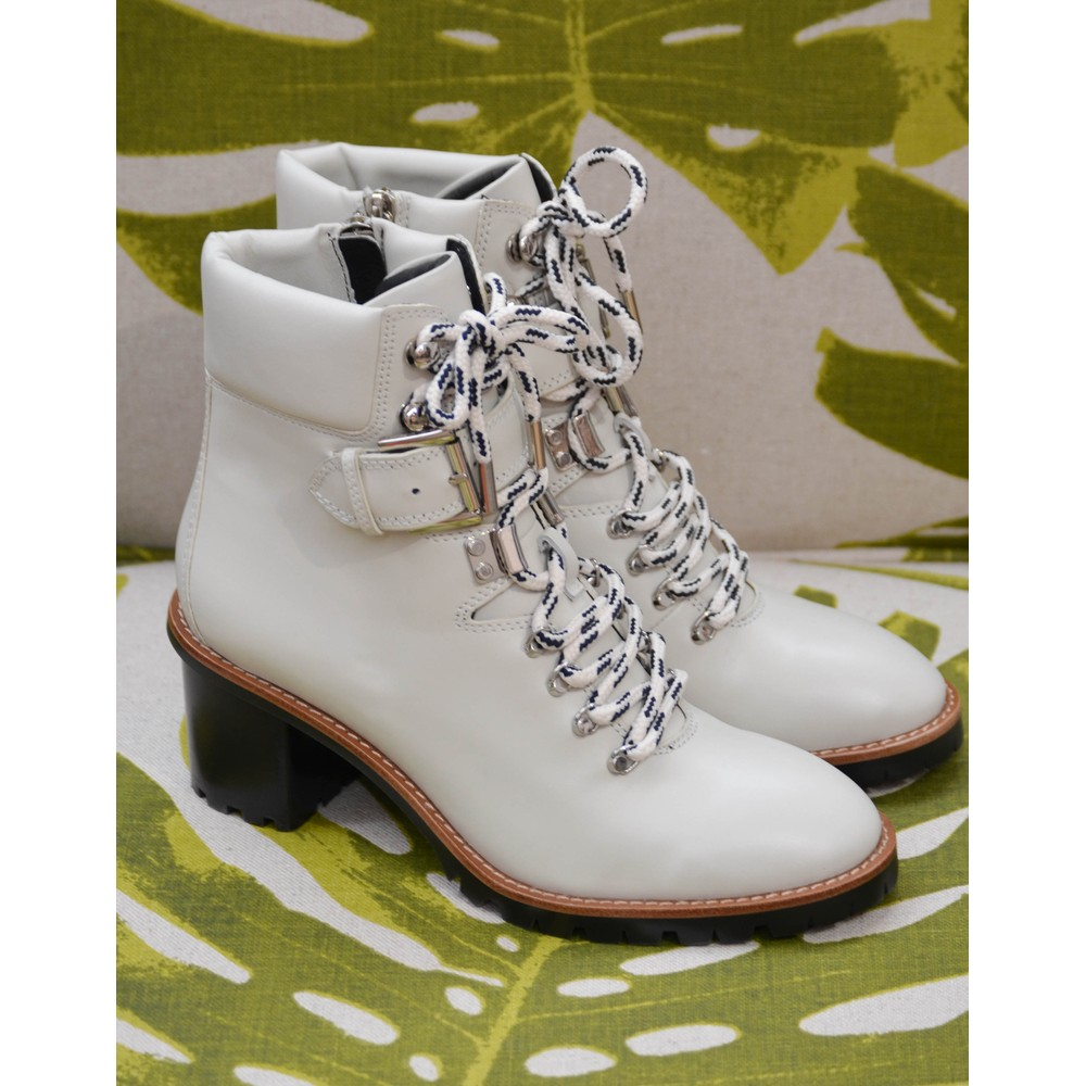 Lola Cruz Buckled Lace Up Heeled Boot Off White
