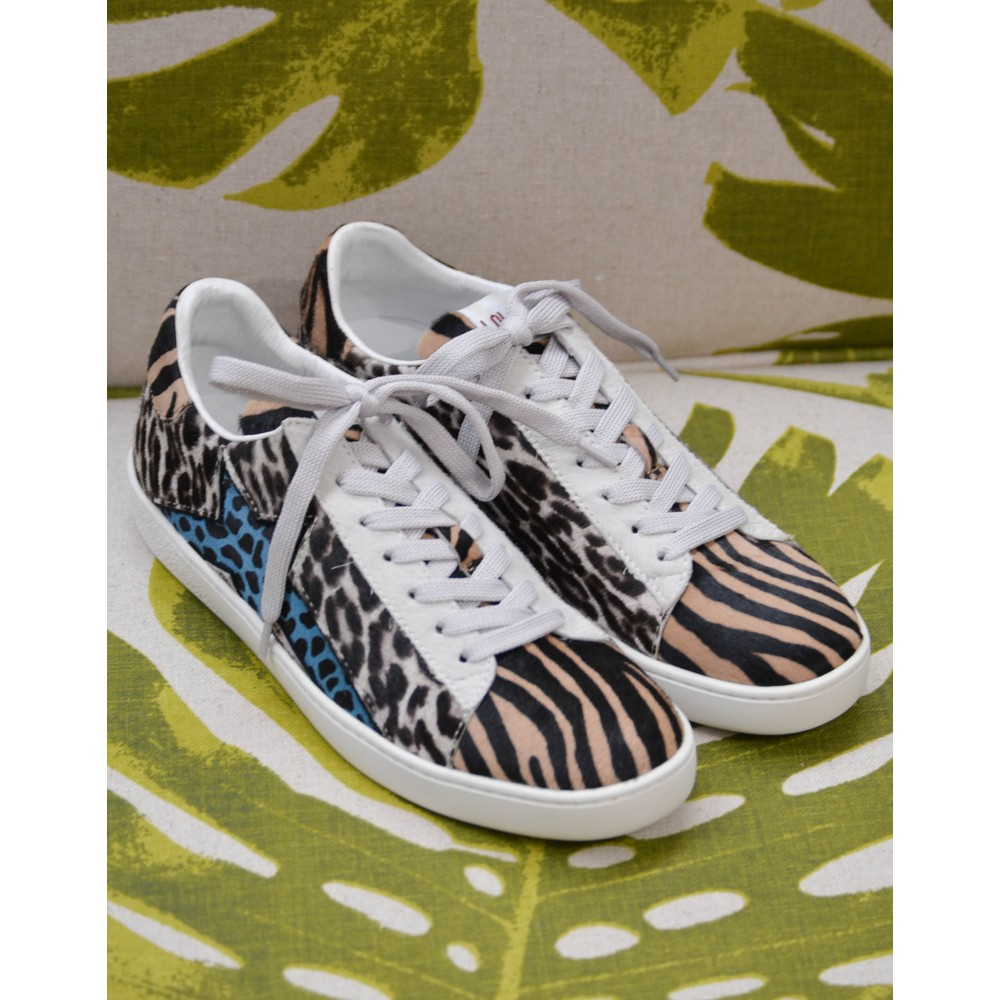 Lola Cruz Animal Print Pony Hair Trainer Toffee/Black/Petrol Blue