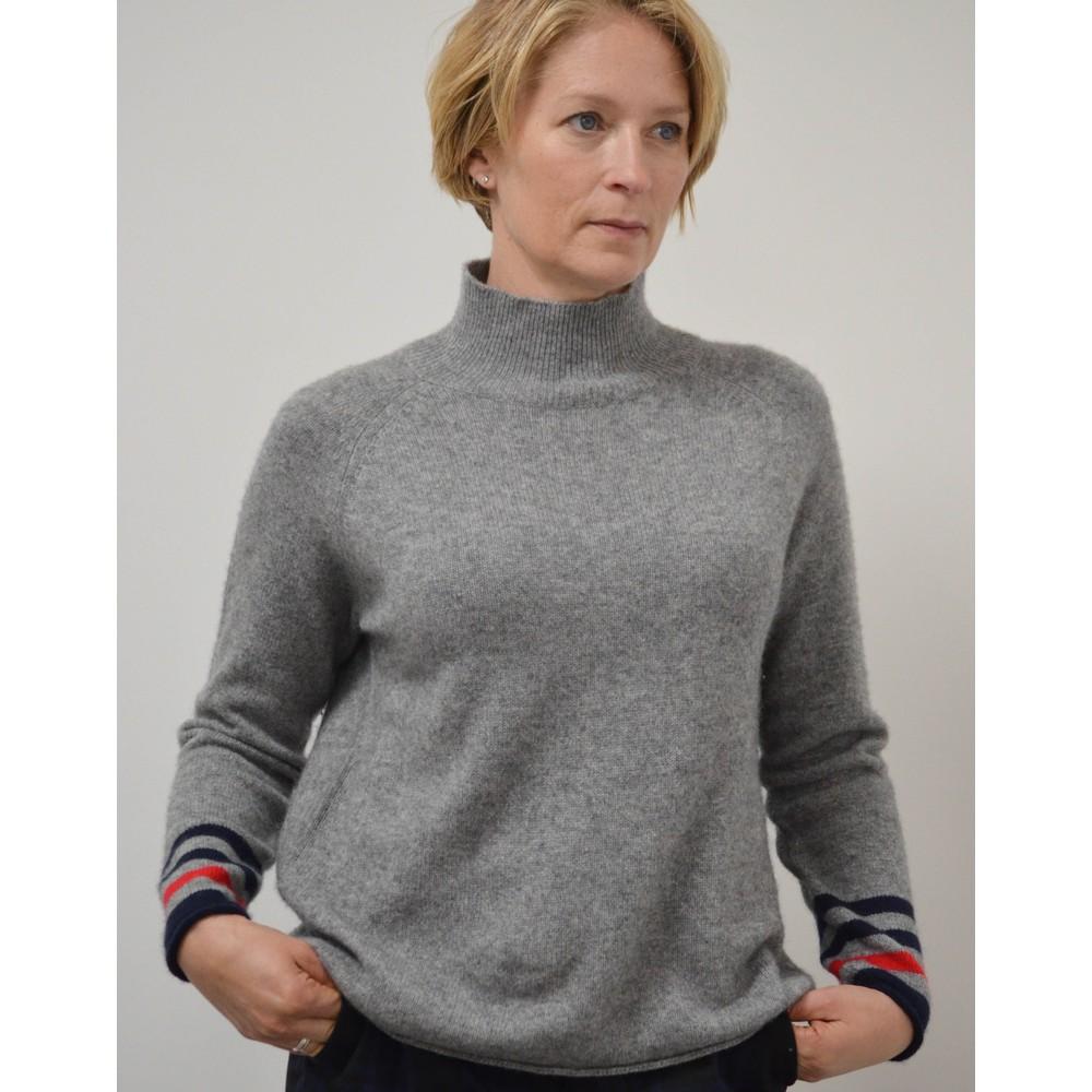 Jumper 1234 Secret Stripe Winter Sweater Mid Grey Red Navy