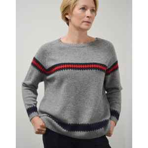 Heavy Fairisle Sweater Grey Marl/Red/Black