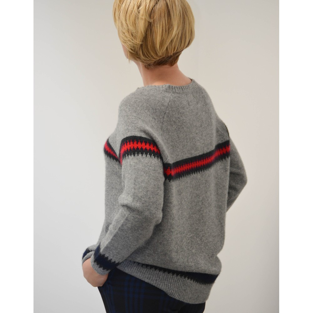Jumper 1234 Heavy Fairisle Sweater Grey Marl/Red/Black