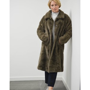Zonna Faux Fur Long Coat Brown