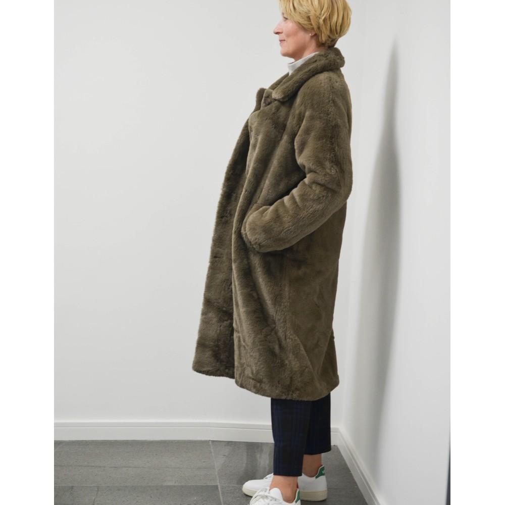 Rino & Pelle Zonna Faux Fur Long Coat Brown
