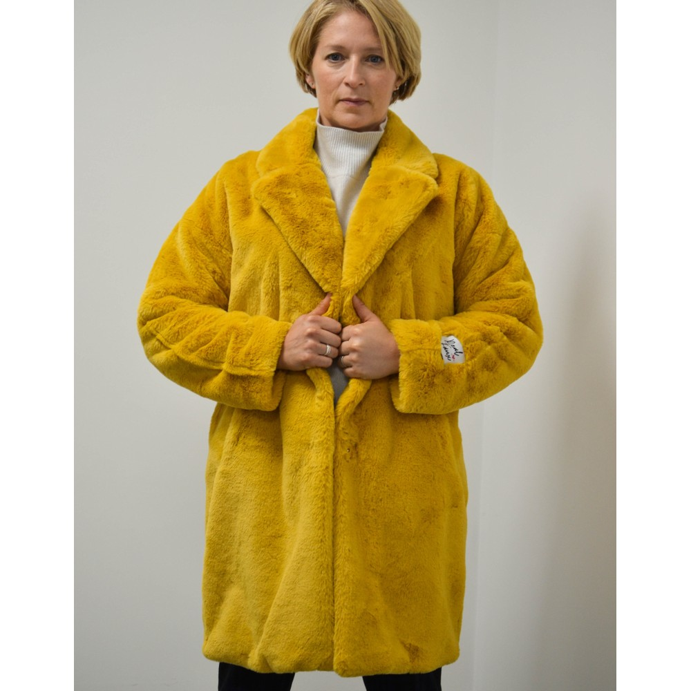 Rino & Pelle Joela Faux Fur Coat Honey Yellow