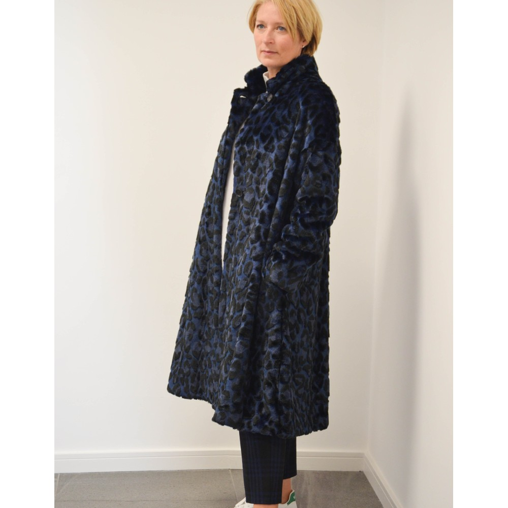 Paul Smith Womens Aline Faux Fur Coat Blue/Black