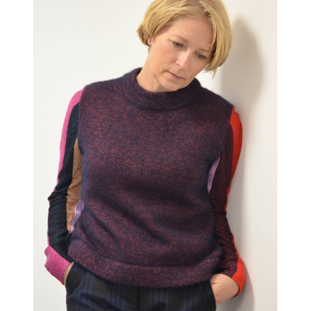 Paul Smith Womens Striped Lurex Sleeves Knit Dark Navy/Multi