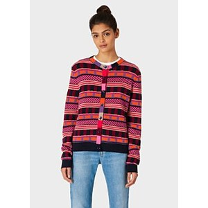 Patterned Stripes Cardigan Dark Navy/Multi
